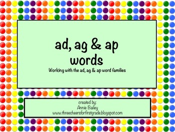 AD, AG and AP Word Study Sort with Activities
