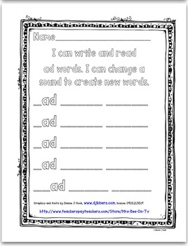 AD Word Family: Video and Worksheet, Level 4