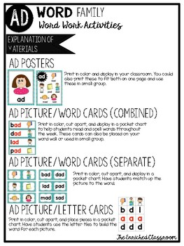 AD Word Family Word Work Activities