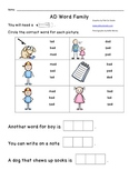AD Word Family Worksheet