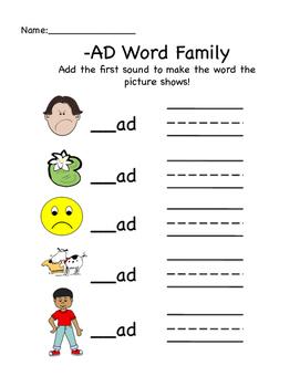 AD Word Family Worksheet