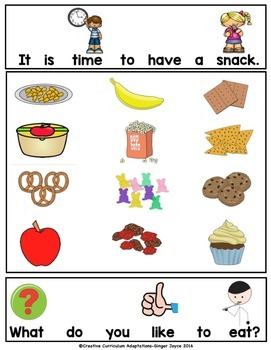 BACK TO SCHOOL ADAPTED BOOK-Snack Time (PreK-2/SPED/ELL)