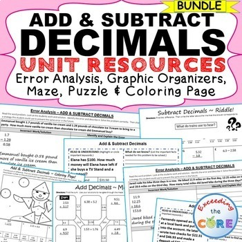 ADD AND SUBTRACT DECIMALS BUNDLE Error Analysis, Graphic Organizers, Puzzles