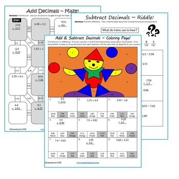 ADD AND SUBTRACT DECIMALS Maze, Riddle, Coloring Page (Fun MATH Activities)