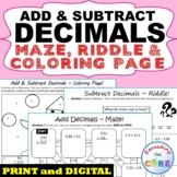 ADD AND SUBTRACT DECIMALS Maze, Riddle, Coloring Page | Print or Digital