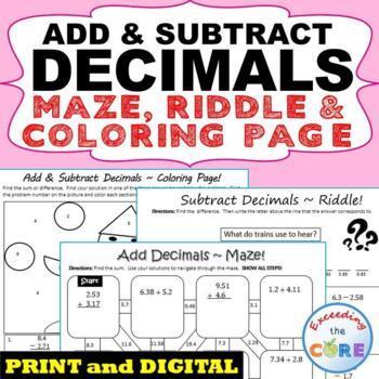 ADD AND SUBTRACT DECIMALS Maze, Riddle, Coloring Page (Fun