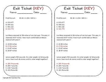 ADD AND SUBTRACT DECIMALS - TASK CARDS AND EXIT TICKET