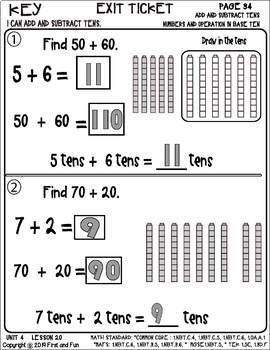 ADD AND SUBTRACT TENS UNIT 4 LESSON 20 MAFS COMMON CORE TEK MGSE i READY