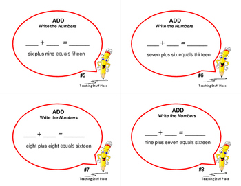 ADD. . . READ the Words: 28 Addition Task Cards with Facts, Gr  1-2 MATH