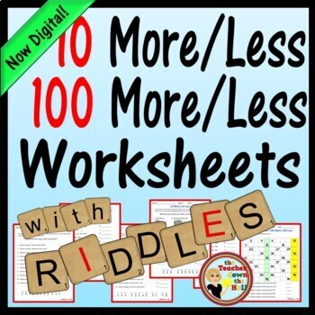 ADD / SUBTRACT 10'S and 100'S Worksheets w/ Riddles Grades 2-3
