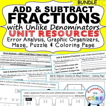 ADD & SUBTRACT FRACTIONS BUNDLE Error Analysis, Graphic Organizers, Puzzles