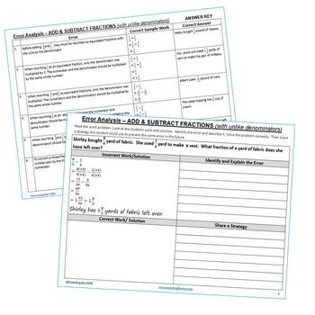 ADD & SUBTRACT FRACTIONS (UNLIKE DENOMINATORS) Error Analysis - Find the Error