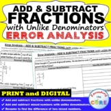 ADD & SUBTRACT FRACTIONS (UNLIKE DENOMINATORS) Error Analy