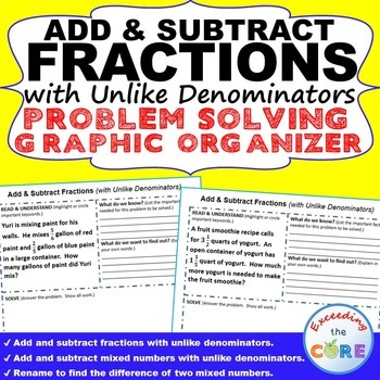 ADD & SUBTRACT FRACTIONS Word Problems with Graphic Organizers