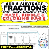 ADD & SUBTRACT FRACTIONS with UNLIKE DENOMINATORS Maze, Riddle, Coloring Page