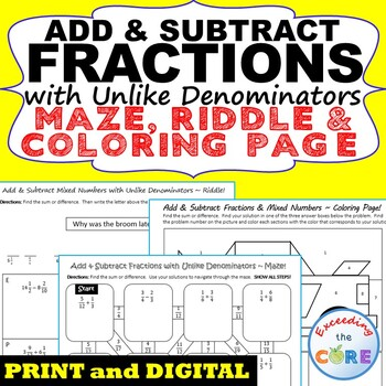 add and subtract fractions with unlike denominators worksheet pdf