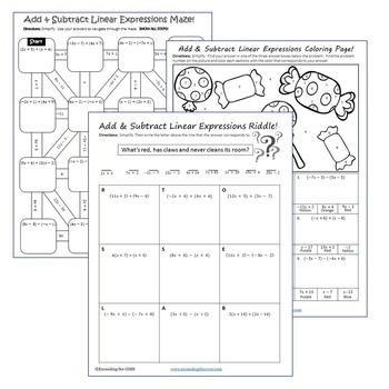 ADD & SUBTRACT LINEAR EXPRESSIONS Maze, Riddle, Coloring (Fun MATH Activities)