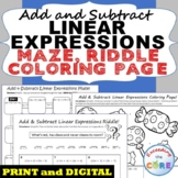 ADD & SUBTRACT LINEAR EXPRESSIONS Maze, Riddle, Coloring Page | Print or Digital