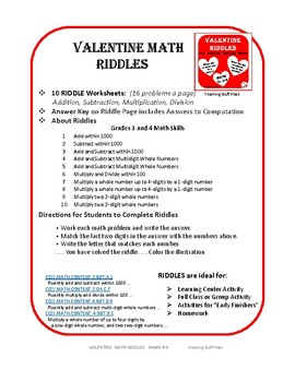 ADD, SUBTRACT, MULTIPLY, DIVIDE  Valentine RIDDLES  ♥ ♥ ♥  Grade 3-4  MATH