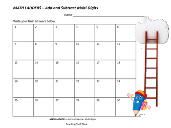 ADD and SUBTRACT to 999 | Multi-Digits | MATH LADDERS | Early Finishers |Gr 3-4