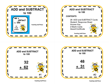 ADDITION and SUBTRACTION to 100 | Task Cards | Math SCOOT  | NO PREP | Gr 2-3