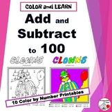ADD and SUBTRACT to 100 in CLOWNS | Color by Number | Grade 2 Math Worksheets