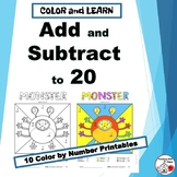 ADD and SUBTRACT to 20 | Monster Math | Color by Number |Grades 1-2
