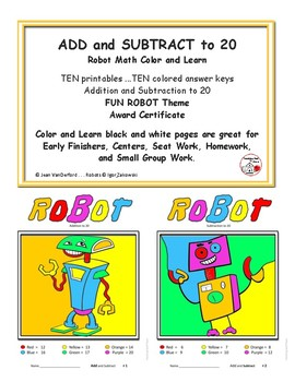 add and subtract to 20 robot art color by number worksheets gr 1 2 math