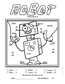 add and subtract to 20 robot art color by number worksheets gr 1 2 math. Black Bedroom Furniture Sets. Home Design Ideas