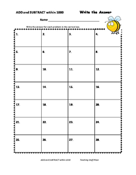 ADD and SUBTRACT to 1000 | REVIEW | TASK CARDS | PRACTICE | Gr 3 MATH