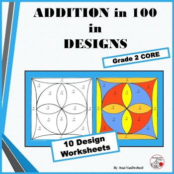 Add To 100 Problems Color By Number Geometric Design Worksheets Math