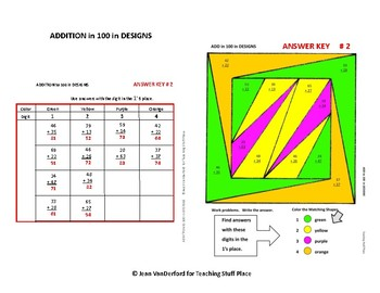 ADD to 100 Problems  Color by Number Geometric Design Worksheets  MATH Gr  2