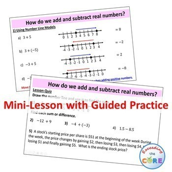 ADD AND SUBTRACT REAL NUMBERS PowerPoint Mini-Lesson & Guided Practice
