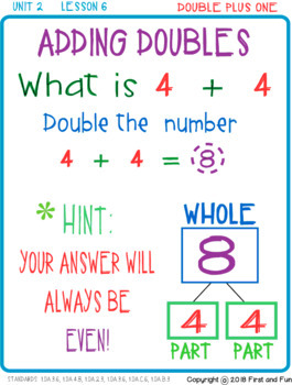 ADDING DOUBLES AND DOUBLE PLUS 1 WORKSHEETS EXIT TICKET AND POSTERS i READY COMM
