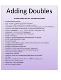 ADDING DOUBLES, Doubles + 1, Subtracting Doubles & My Game