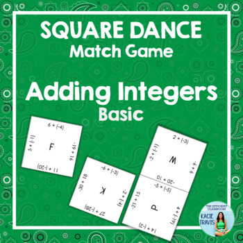 ADDING INTEGERS (Basic) Square Dance Match Game FREE