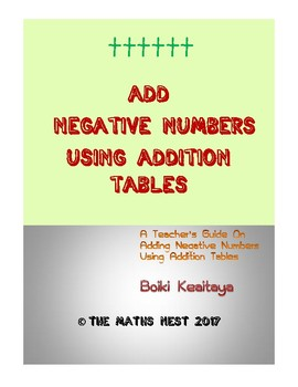 ADDING NEGATIVE NUMBERS USING ADDITION TABLE