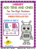ADDING TENS AND ONES 2 TWO-DIGIT NUMBERS UNIT 5 LESSON 24 WORKSHEET POSTER & EXI