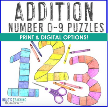 ADDITION 0-9 Puzzles - Great for Bulletin Board Numbers! *50% off for 24 hours!*