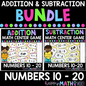 ADDITION AND SUBTRACTION 10 TO 20 MATH CENTER GAMES PAIR PACK BUNDLE!!