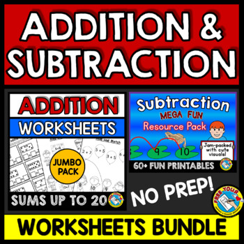 ADDITION AND SUBTRACTION WORKSHEETS TO 20 KINDERGARTEN BUNDLE