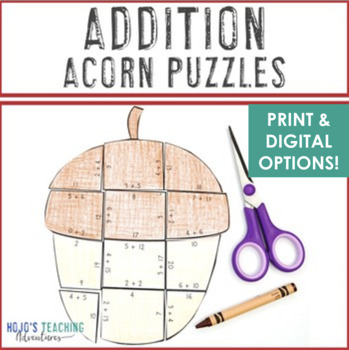 ADDITION Acorn Fall Activities | Fall Math Centers | Make a Fall Bulletin Board!