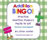 ADDITION BINGO GAME!  Facts to 20!  Common Core Aligned!