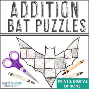 ADDITION Bat Puzzles   Halloween Math Centers   FUN Bat Activity Puzzle