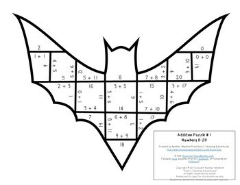 ADDITION Bat Math Worksheet Alternative | FUN Stellaluna Activities for Math!