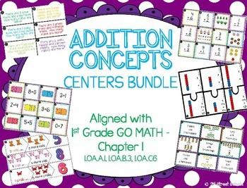 ADDITION CENTERS BUNDLE!! 8 Centers - GO MATH! Chapter 1