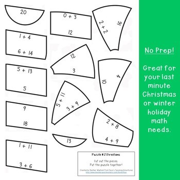 ADDITION Candy Cane Puzzles | FUN Christmas Coloring Sheet Alternative