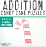 ADDITION Candy Cane Puzzles   FUN Candy Cane Coloring Shee