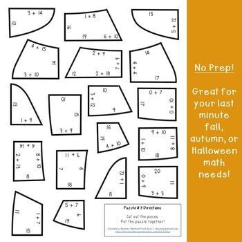 ADDITION Candy Corn Puzzles | Fall Activities | FUN Fall Math Center Game