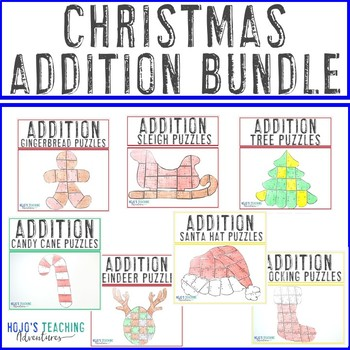 ADDITION Christmas Math Worksheet Alternatives - Seven downloads in one!